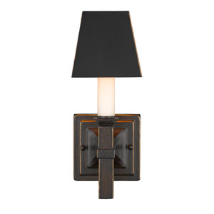 Bradley Cordoban Bronze One-Light Wall Sconce with Black Metal Shade