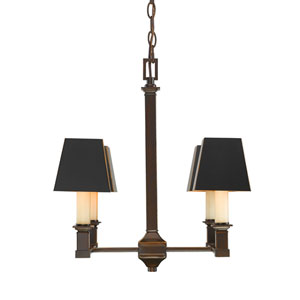 Bradley Cordoban Bronze Four-Light Chandelier with Black Metal Shades