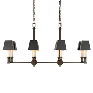 Bradley Cordoban Bronze 39-Inch Eight-Light Linear Pendant with Black Metal Shades (Copper interior)