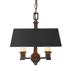 Bradley Cordoban Bronze Four-Light Semi-Flush Mount with Black Metal Shades