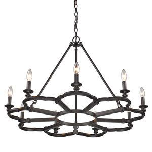 Saxon Aged Bronze Nine-Light Chandelier