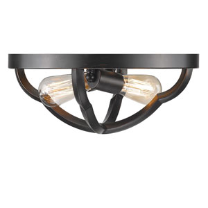 Saxon Aged Bronze Two-Light Flush Mount