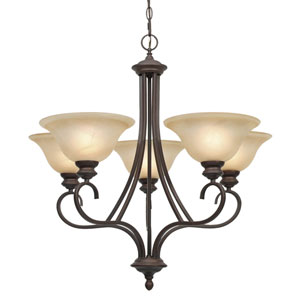Lancaster Rubbed Bronze Five-Light Chandelier