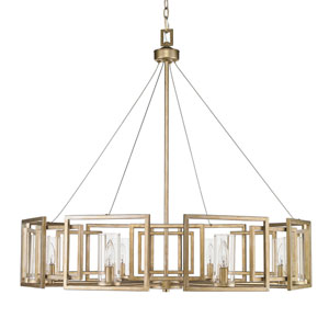 Marco White Gold Eight-Light Chandelier with Clear Glass Shade