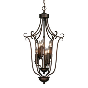 Multi-Family Small Rubbed Bronze Caged Foyer Pendant