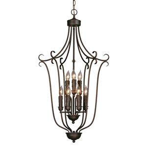 Multi-Family Large Rubbed Bronze Caged Foyer Pendant