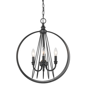 Quinn Black 18-Inch Three-Light Pendant