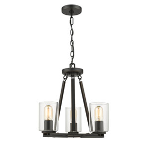 Monroe Black Three-Light Chandelier