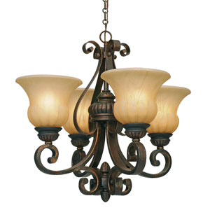 Mayfair Leather Crackle Four-Light Mini-Chandelier
