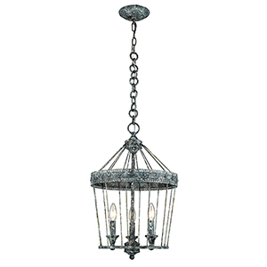 Ferris Blue Verde Patina Three-Light Chandelier