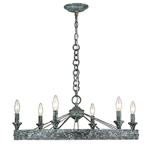 Ferris Blue Verde Patina Six-Light Chandelier