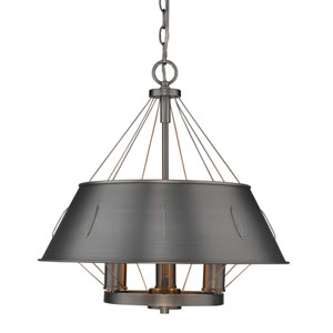 Whitaker Aged Steel 18-Inch Three-Light Drum Pendant with Aged Steel