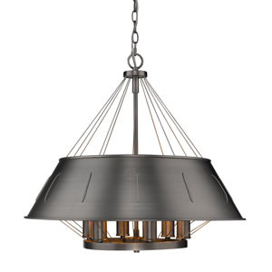 Whitaker Aged Steel 25-Inch Six-Light Drum Pendant with Aged Steel