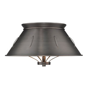 Whitaker Aged Steel 14-Inch Two-Light Flush Mount with Aged Steel