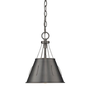 Whitaker Aged Steel 9-Inch One-Light Mini Pendant with Aged Steel