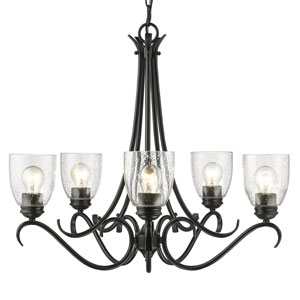 Parrish Black Five-Light Chandelier with Seeded Glass