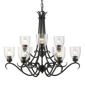 Parrish Black Nine-Light Chandelier with Seeded Glass