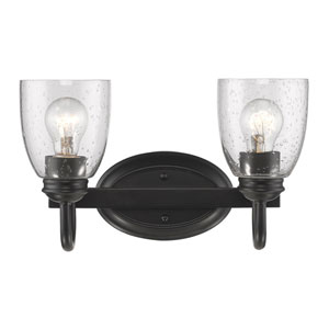 Parrish Black Two-Light Bath Vanity with Seeded Glass