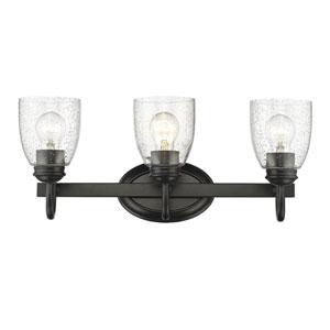 Parrish Black Three-Light Bath Vanity with Seeded Glass