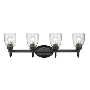 Parrish Black Four-Light Bath Vanity with Seeded Glass