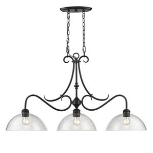 Parrish Black Three-Light Linear Pendant with Seeded Glass