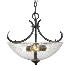 Parrish Black Three-Light Semi-Flush Mount with Seeded Glass