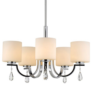Evette Chrome Five-Light Chandelier with Opal Glass