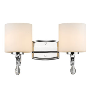 Evette Chrome Two-Light Bath Vanity with Opal Glass
