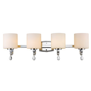 Evette Chrome Four-Light Bath Vanity with Opal Glass