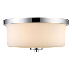 Evette Chrome Three-Light Flush Mount with Opal Glass