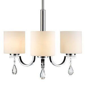 Evette Chrome Three-Light Chandelier with Opal Glass