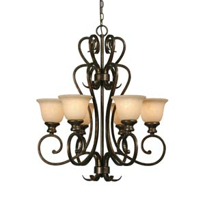 Heartwood Burnt Sienna Six-Light Chandelier