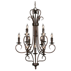 Centennial Rubbed Bronze Twelve-Light Chandelier