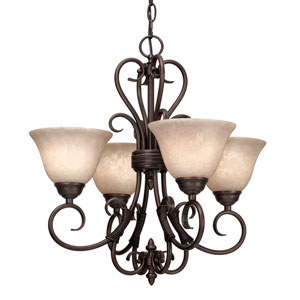 Homestead Rubbed Bronze Four-Light Mini-Chandelier