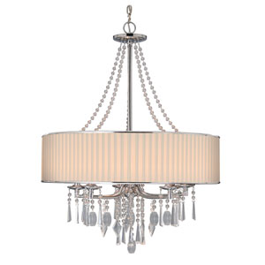 Echelon Chrome Five-Light Chandelier with Bridal Veil Shade