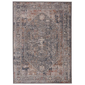 Raveen Valle Medallion Gray and Cream 7 Ft. 6 In. x 9 Ft. 6 In. Area Rug