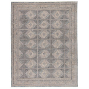 Winsome Jamestown Trellis Blue and Cream 3 Ft. x 8 Ft. Area Rug