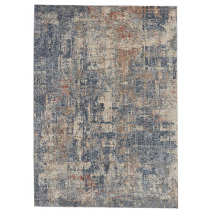 Raveen Temecula Abstract Blue and Tan 7 Ft. 6 In. x 9 Ft. 6 In. Area Rug