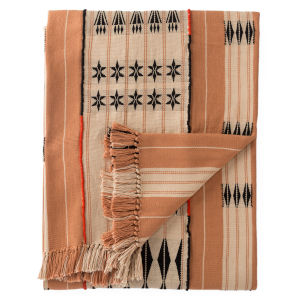 Nagaland Chang Tribal Blush and Beige Hand-Loomed Throw