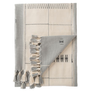 Nagaland Sekrenyi Tribal Cream and Taupe Hand-Loomed Throw