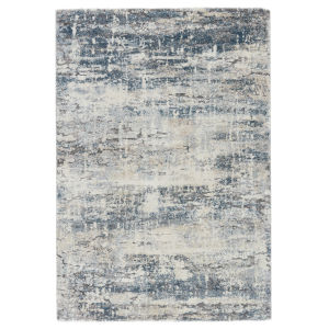 Ferris Benton Abstract Blue and Gray 3 Ft. x 10 Ft. Runner Rug
