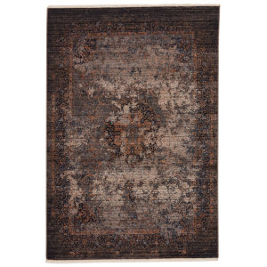 Zefira Enyo Medallion Dark Blue and Gold 8 Ft. x 10 Ft. 6 In. Area Rug