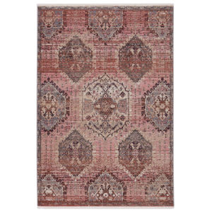 Zefira Kyda Medallion Pink and Gray 5 Ft. x 8 Ft. Area Rug