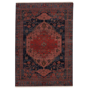 Zefira Myrina Medallion Red and Dark Blue 8 Ft. x 10 Ft. 6 In. Area Rug