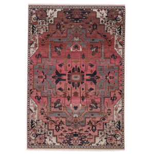 Zefira Bellona Medallion Pink and Gray 5 Ft. x 8 Ft. Area Rug