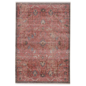 Zefira Marcella Oriental Pink and Gray 10 Ft. x 14 Ft. Area Rug