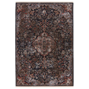 Zefira Amena Medallion Black and Dark Taupe 10 Ft. x 14 Ft. Area Rug