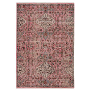 Zefira Kerta Medallion Pink and Beige 8 Ft. x 10 Ft. 6 In. Area Rug