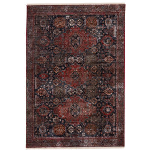 Zefira Razia Medallion Navy and Red 10 Ft. x 14 Ft. Area Rug