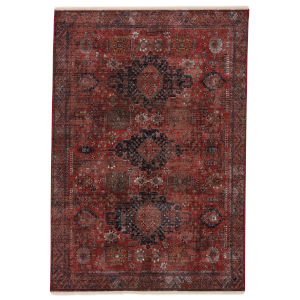 Zefira Razia Medallion Red and Black 5 Ft. x 8 Ft. Area Rug